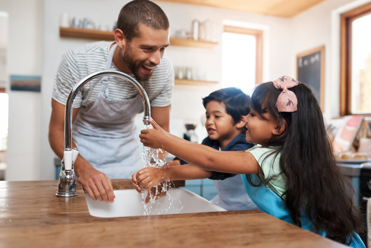 a family washing hands